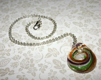 Green Copper Glass Pendant Necklace