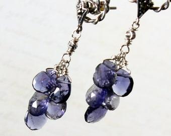 Iolite Earrings, Fine Sterling Silver earrings, clusted earrings with violet blue gemstone, dangle stud earrings, holiday gift for her, 2373