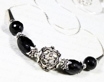 Black Onyx Necklace, Sterling Silver, fine artisan necklace with black gemstone, elegant statement necklace, holiday gift for her, NL2644