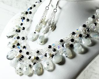 Moonstone Necklace, Silver Wire Crochet, Black Onyx, White Pearls, Swarovski, iridescent milky gemstone, statement necklace, gift, 2811