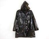 plastic p o p, BLACK see through hooded raincoat . napkin