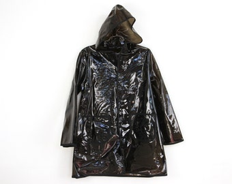 plastic p o p, BLACK see through hooded raincoat . napkin
