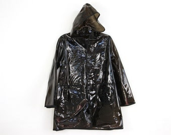 ELNINO SALE plastic p o p, BLACK see through hooded raincoat . napkin