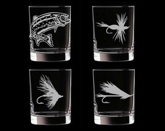 Fly Fishing Double Old Fashioned Glasses Set of 4 Personalized Customized Father's Day fisherman retirement whiskey whisky scotch