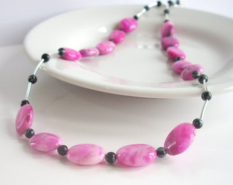 Sales Clearance, Pink Crazy Lace Agate Sterling Silver Necklace, Snowflake Obsidian Necklace, Pink and Black Gemstone Necklace