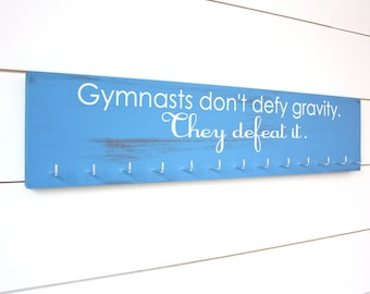 Gymnastics Medal Holder - Gymnasts don't defy gravity - Large