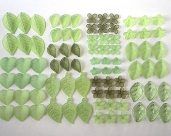 84 pcs Frosted Leaf Lucite Beads - Assorted Sizes Mix