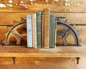Gear bookends Industrial salvage decor Farmhouse decor Primitive shabby bookends