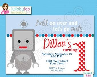 Robot 1st Birthday Invitations - Printed Invitations - Custom Invitations