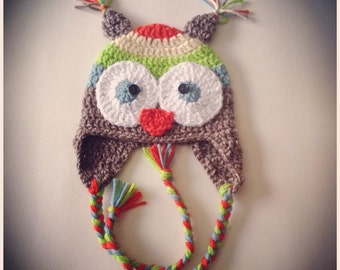 Rainbow Owl Hat - Made To Order