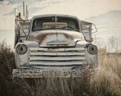 Truck Photography, Landscape Print, Chevrolet Wall Art, Rustic Farmhouse Decor, Blue, Brown, Gray, Man Cave Decor | 'Old Reliable'