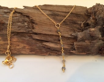 Gold, Gray/Blue, Lariat Necklace