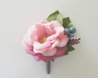 Pink Camellia silk flower boutonniere | silk flower boutonniere | Country style buttonhole