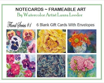 Art Notecards 6 Blank of Floral Series 1, Party Favors