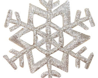 ID #8133 Snowflake Winter Season Ice Holiday Embroidered Iron On Applique Patch
