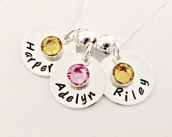 Personalized Mommy Necklace - Custom Hand Stamped Jewelry -Trio of Discs with Names, Birthstones, Spacer Beads -Triplets Multiples Push Gift