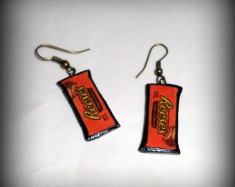 Reese's Peanut Butter Cup Candy Earrings Handmade Polymer Clay