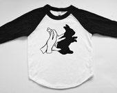 Shadow Puppet - Rabbit Raglan Tee - Bunny - Baseball tee shirt - Shadow Puppet Bunny
