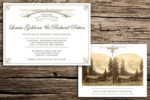 Rustic Romance Wedding Invitation Set Vintage By Factorymade