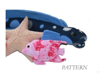 PATTERN PDF for Fishy Friends Stuffed Toy Sewing Pattern Angelfish Starfish Toothy Fish