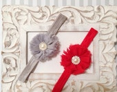 Baby girls headband-red girl headband-grey headband-shabby chic headband-photo prop-girls flower headband-toddler headband