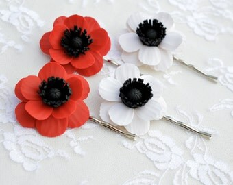 Set of 2 Red Poppy/Anemone Hair Clip, White Anemone/Poppy Hair Clip, Poppy Hair Accessories, Anemone Hair clip