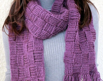 Crochet Scarf PATTERN, Checkered Scarf, Long Scarf With Pocket, Unisex Gift, DIY Scarf, Instant Download, PDF Pattern #101, Lyubava Crochet