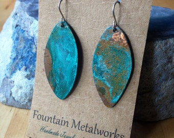 Patinated Copper Vesica Piscis Earrings