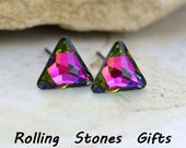 8mm Vitrail Medium Trillion cut Triangle Swarovski Rhinestone Stud Earrings-Crystal Studs-Geometric Studs-Ear Studs