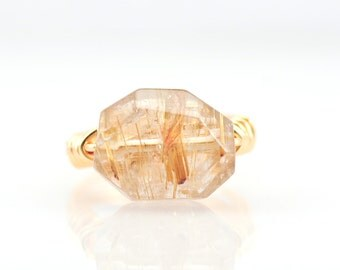 Rutilated Quartz Ring, Rutile quartz, unique wire wrapped ring, quartz ring,