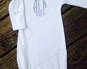 Personalized Long Sleeve Infant Gown Available in Pink, Blue, or White