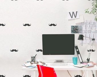 Mini Mustaches Wall Decal - Mustache Decal, Mustache Sticker, Hipster Decal, Handle Bar Mustache, Funny Wall Decal, Mini Mustache
