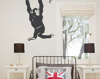 hanging chimp wall decal monkey wall art swinging monkey nature wall decal. Interior Design Ideas. Home Design Ideas