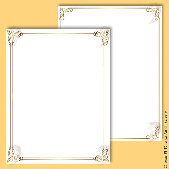 Wedding And Certificate Floral Border Border Clipart: Document Frames Page Borders 8x11 Gold Floral Foliage Leaf