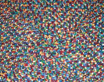 Clearance Sale~ Was 25USD Beautiful Multi-coloured Crochet Cot Blanket Afghan For Baby Measures 72cm Square