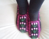 Handmade Women Slippers  Turkish Knitted slippers Authentic footwear Stylish foot warm Traditional Socks