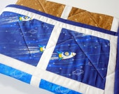 CLEARANCE: Modern SPACE QUILT for baby and toddler boy or girl, cotton, flannel, and minky, ready to ship, 34 x 43 inches