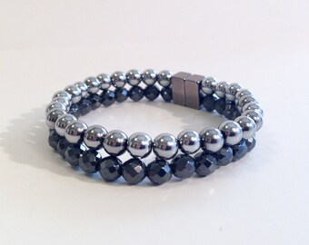 Double stranded magnetic hematite bracelet - layered bracelet - custom sized