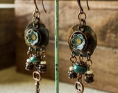 Boho Spirit, Gypsy Flower Metal Earrings, Ethnic African Earrings