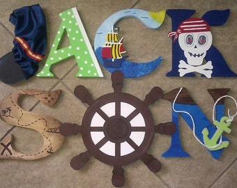 Pirate Wooden Letters, Pirate Letters, Custom Letters, Pirate Decor, Boys Room Decor, Pirate Wood Letters, Pirate Initial, Pirate Initials