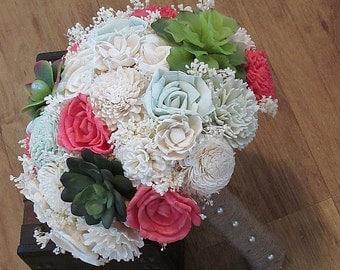 Wedding Bouquet, Sola wood Succulent Bouquet, Woodland Dried Bouquet, Bridal Bouquet, Sola flowers, Alternative Bouquet, Rustic Handmade