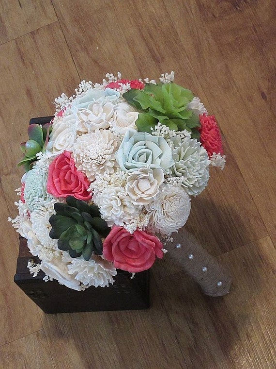 wooden flowers wedding bouquets wedding bouquet sola wood succulent bouquet woodland dried 1486