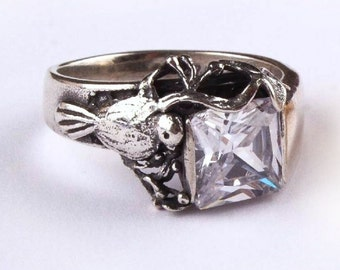 Bird Ring, Engagement Ring Size 9, 925 Sterling Silver Ring, clear Quartz Ring, Gemstone Ring, Women Jewelry
