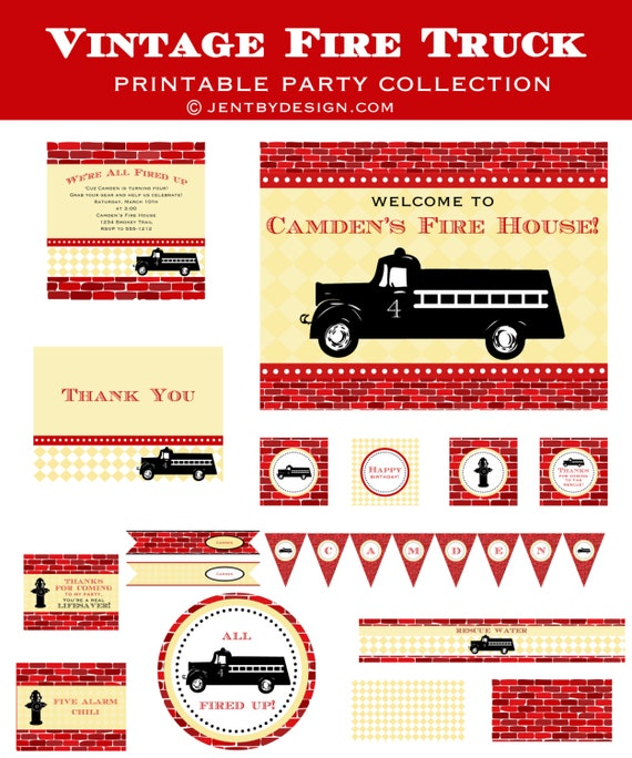 A Vintage Firetruck Birthday Party: Vintage Fire Truck Printable Party Collection By JenTbyDesign