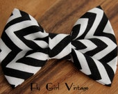 Black and White Chevron Fabric Hair Bow Fabric Hairbows Bows Chevron hair clip Black Hair bow