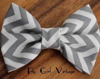 Grey and White Chevron Fabric Hair Bow Gray Fabric Hairbows Bows Chevron hair clip Grey Hair bow Gray Hair Bow