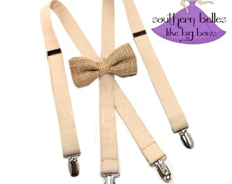 Burlap Bow Tie and Suspenders, Khaki Suspenders and Bow Tie for Ring Bearer, Boys Suspenders, Bow Tie for Wedding, Suspenders for Wedding