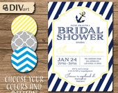 """PRINTABLE 5x7"""" Bridal Shower Invitation, Engagement Party Invitation - nautical, anchor - navy and yellow or any colors- 529"""