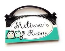 custom door sign owl on a tree limb nursery or bedroom decor - girls turquoise decor - P2047
