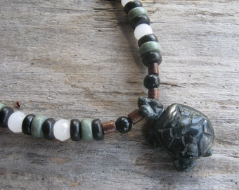 Serpentine Turtle Necklace, Agate Beaded Necklace, Tribal Necklace, Wood Necklace, Totem Animal Jewelry, Mens Womens Necklace, READY To SHIP